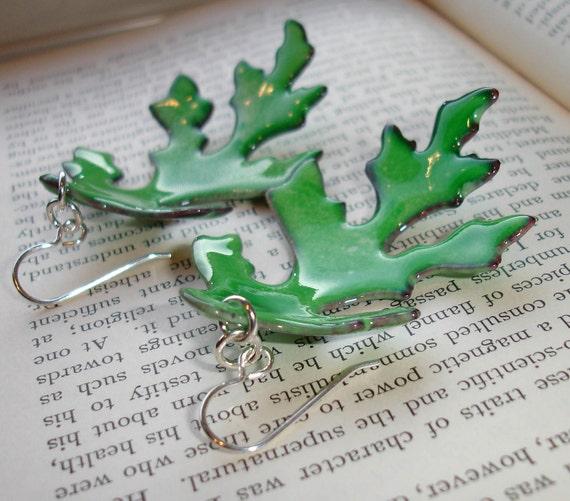 RESERVED Sale Handmade Enamel on Copper Leaf Dangle Earrings, Green, Large Dangle Earrings, Enameled Earrings, Oak Leaves, SRA (G116)