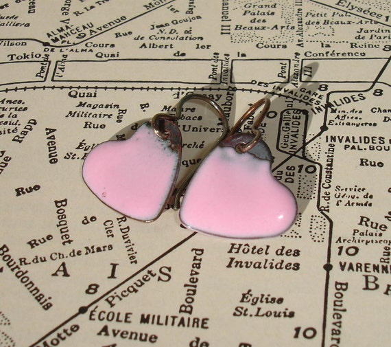 Handmade Enamel on Copper Dangle Heart Earrings, Valentine Pink Heart Enameled Earrings, Simple Dangle, Enameled Copper, SRA (G103)