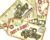 Car Crazy Automobile Holiday Vintage Look Grunge Primitive Hang Gift Tags (4)