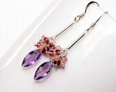 o-- SALE --o Purple Amethyst, Garnet, Sterling Silver Earrings, Handmade Jewelry