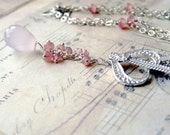 Sterling Silver, Rose Quartz Heart Necklace, Handmade Jewelry,