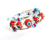 Turquoise blue and Deep Orange Silver Memory Wire Bracelet