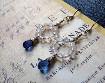 Rainbow Moonstone, Kyanite and Sterling Silver Earrings