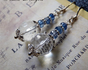 Rock Crystal Quartz, Kyanite, Sterling Silver Earrings, Handmade Jewelry