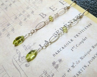 Peridot and Sterling Silver Earrings, Handmade jewelry