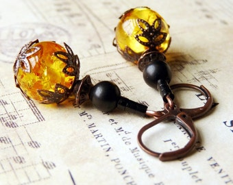 Amber, Jet,  Antiqued Copper Earrings, Handmade Jewelry