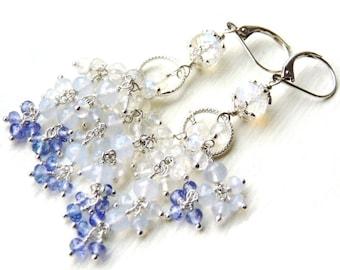 Rainbow Moonstone Chandelier Earrings, Sterling Silver Earrings, Handmade Jewelry