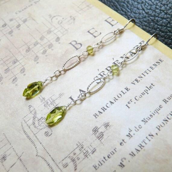 Peridot and Sterling Silver Earrings, Handmade jewelry