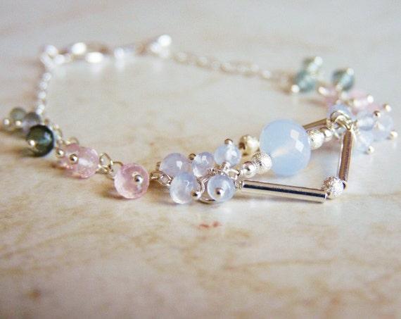 Chalcedony, Aquamarine, Rose Quartz, Sterling Silver Bracelet, Handmade Jewelry