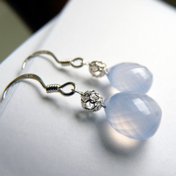 SALE, Chalcedony, Sterling Silver Earrings, Handmade Jewelry was 30