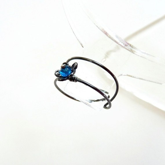Blue Apatite, Sterling Silver Ring, Handmade Jewelry