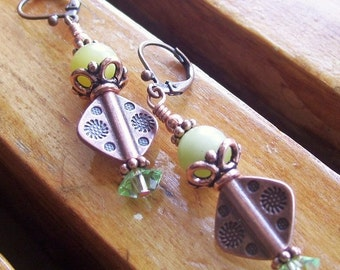 Olive Jade Copper Diamond Earrings