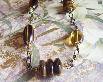 Chunky Tiger Eye  Necklace On Chain