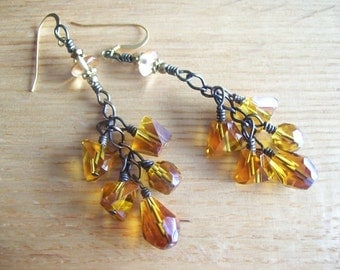 Golden Yellow Topaz Cluster Earrings - Wire Wrapped