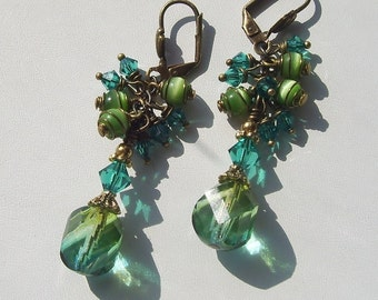 Blue Green Swirl Wire Wrapped Cluster Earrings