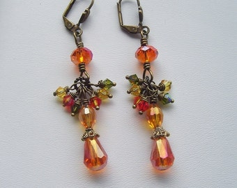 Orange Earrings, Olive Green, Topaz and Fire Opal Wire Wrapped Cluster