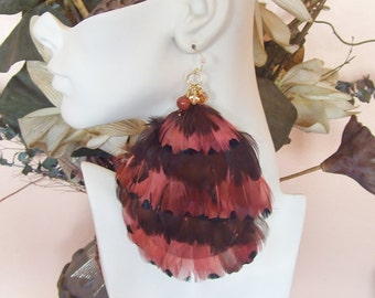 Feather Earrings - Pheasant & Brown Feather Combination (Fly Girl Jumbo Feather Earring Collection)