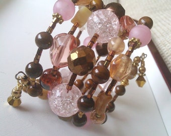 Autumn Pink and Brown Coiled Memory Wire Bracelet - Gemstone and Glass Bead mix