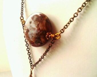 Copper Chain Necklace, Rustic Brown Pietersite, Tempest, Healing Stone Pendant