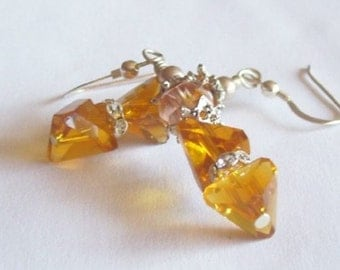 Yellow Topaz Earrings, Golden Honey Crystal Earrings with Silver Rhinestones