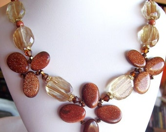 OOAK Chunky Necklace Golden Rutilated Quartz Glass Nuggets And Goldstone Petals