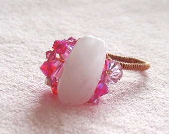 Rose Quartz Ring - Pink Stone Ring Wire Wrapped with Copper Wire