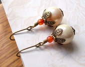 Vintage Bead Earrings-Orange Sherbet