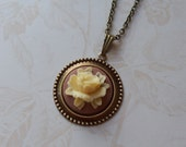 Cabbage Rose Cameo Necklace- Cream and Brown-Store Closing Sale- Everything reduced 50%