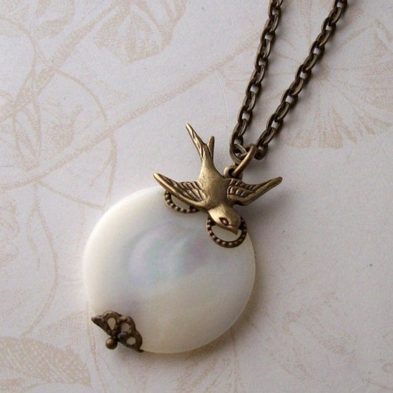 By the Light of the Moon, Sparrow and Vintage Shell Bead Necklace--Free Shipping