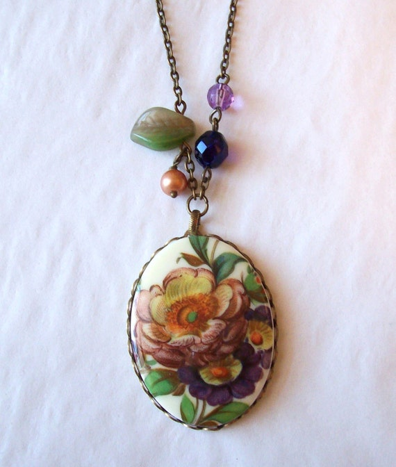 Reserved-Peachy Plum, Vintage Floral Cameo Necklace- Free Shipping