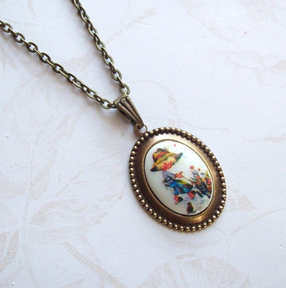 Free Shipping-Holly Hobbie,Vintage Cameo Necklace- Little Gardener
