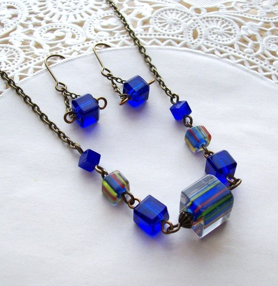 Reserved- Sale-Free Shipping- Glass Cube Necklace and Earring Set- Royal Blue Carnival
