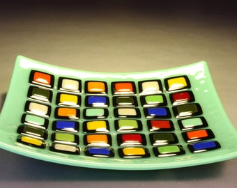 Mint Green Squares Platter