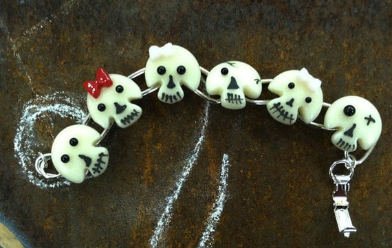 Fun and Cute Day of the Dead/Halloween Skull Bracelet - Fused Glass, Enamel, Silver Plate - Medium Skulls