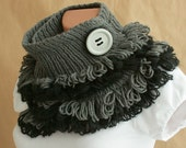 Grey-black SCARF with Button PIN--- knitting with special fork