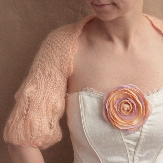 Peach shrug-bolero, size S-M ----hand knitted