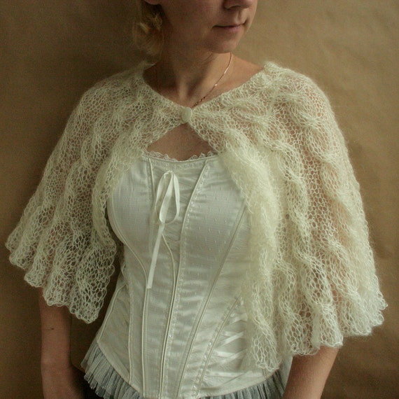 SALE till 29th of Oct---Ivory Bride capelet, wrap, shawl-size S-M