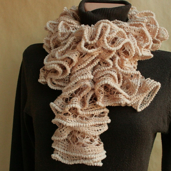 Beige lace SCARF ---hand knitted