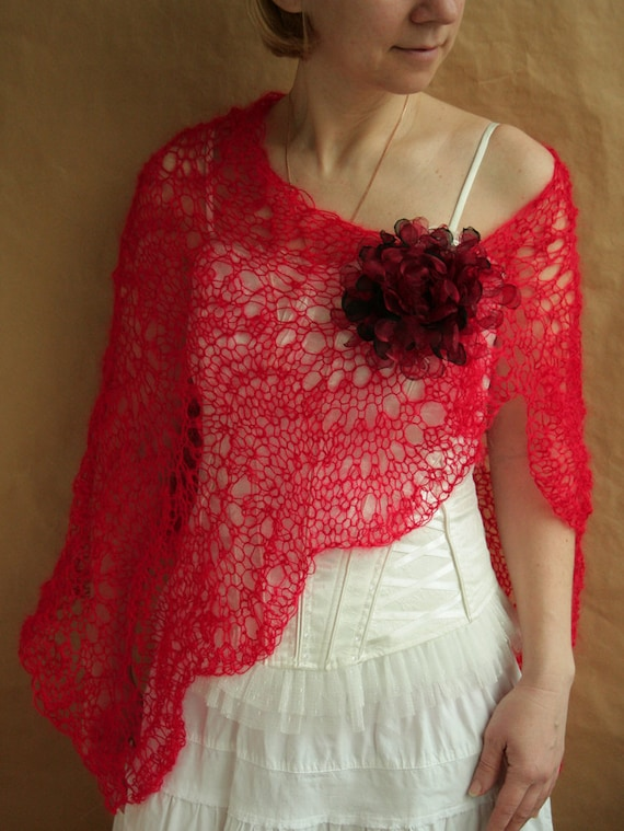 Red SCARF, shawl, wrap, capelet with flower PIN---hand knitted
