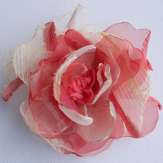 Red and ivory...Flower-corsage-brooch-pin