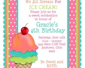 Ice Cream Invitations, Ice Cream Cone invitations,  Ice cream birthday party,Ice Cream Parlor, Sweet Shoppe, Birthday, Children, Kids