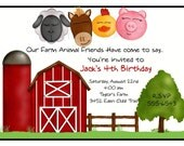 Farm Invitations, FarmParty , Farm Animal, Country, Horse, Pig, Lamb, Chicken, Barn, Children, Kids, Birthday, Stickers, Labels