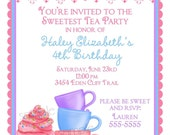 Personalized Invitations, Wonderland Tea Party, Tea Party, Cupcakes, Cookies, Favor , children, girls, address labels