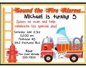 Fire truck invitations, Personalized Birthday Invitations, Fire Truck, Fireman, Truck, Custom, Children, Kids