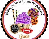 Halloween Stickers, Halloween Candy, Cupcake, Wax Lips, Lollipop stickers, Cookies, Spider web, trick or treat, favor, labels,set of 12