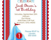 Sailboat Invitations, Boat, Personalized Invitations, Birthday, Baby Shower, Children, kids, baby, Blue, red, nautical,