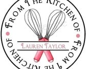Personalized Baking Stickers/Labels/Tags/ WHISK/Cooking/Custom, Different Colors Available