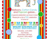 Circus Invitations, Carnival, The Sweestest Circus,  Primary Colors, Birthday Invitations , Circus, Carnival, Clown, Stripes, Elephant