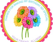 Personalized Stickers,  Gerber Daisies, Daisy, Flowers, Floral, Gifts, Labels, Tags, Seals, Favor , set of 12