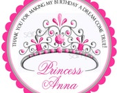 Princess Birthday party Stickers, Tiara stickers, Princess, Crown,  Fairy Princess, Pink, Royal,  Labels, favor set of 12